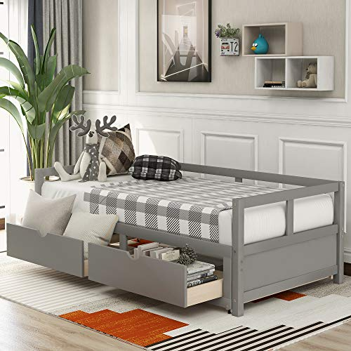 Merax Wooden Daybed Extendable Bed with Trundle Bed and Two Storage Drawers, Sofa Bed for Bedroom Living Room, Grey
