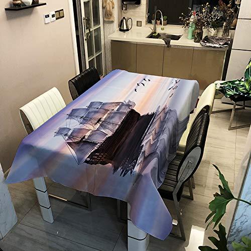 WSJIABIN Mantel Simple Personalidad Tejido de poliéster Impresión Digital Impermeable a Prueba de Polvo Mantel Rectangular Reutilizable Mantel Multiuso (140x160cm