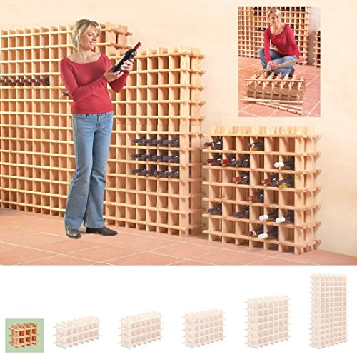 Sistema Botellero modular PRIMAVINO, máx. 9 botellas, pino natural, apilable/ampliable - alt. 32,5 x anch. 42 x pr. 22 cm