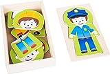 Small Foot 10529Puzzle de madera, cuatro diferentes boy profesiones puede se sorprende, práctica funda de caja de madera para el almacenamiento o Viaje, integrado en la tapa , color/modelo surtido