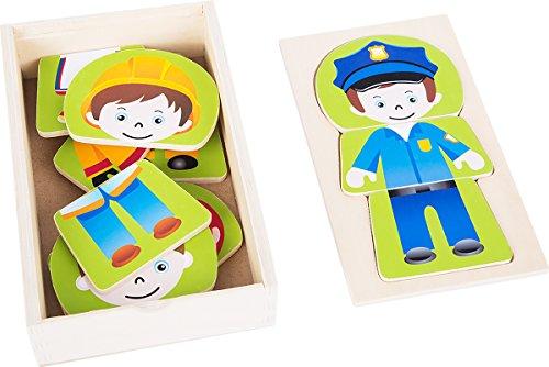 small foot 10529 puzzel van hout, vier verschillende jonge beroepen kunnen puzzeltent worden, praktische houten kist voor opslag of op reis, geïntegreerde legvorm in het deksel