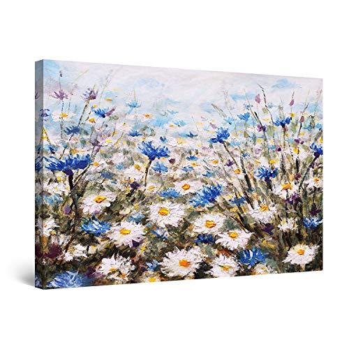 Startonight Impression sur Toile Peinture Champ de Fleurs Bleu Blanc, Tableau Nature - Decoration Murale Salon Moderne - Image sur Toile - 60 x 90 cm