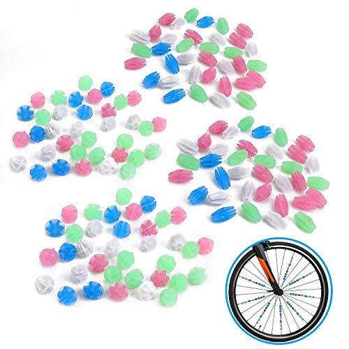 QKURT 140 Stück Fahrradrad Speichen Perlen, Fahrrad Fahrrad Rad Speichen Bunte leuchtende Kunststoff Radfahren Clip Perlen Dekor|Fahrrad sprachdekoration