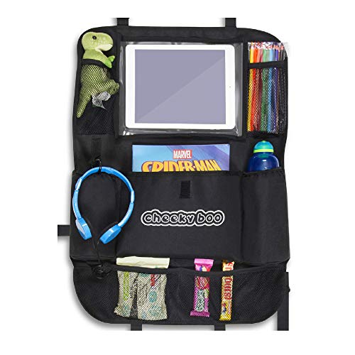 """An image of the CheekyBoo - Child's Large Car Backseat Organiser with 10.1"""" Touch Screen iPad/Tablet Holder for Kids and Toddlers. Black Car Storage and Seat Protector. Fits All Cars"""