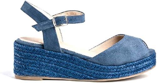 Reqins Sandales Compensees Compensees Oscar Peau bleu Jeans  approvisionnement direct des fabricants