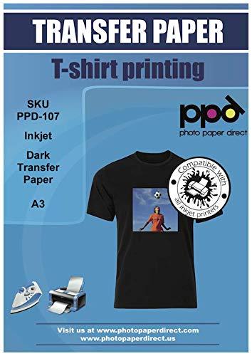 PPD A3 x 10 Blatt Inkjet PREMIUM T-Shirt Transferpapier Transferfolie Bügelfolie für dunkle Textilien und Tintenstrahldrucker PPD-107-10