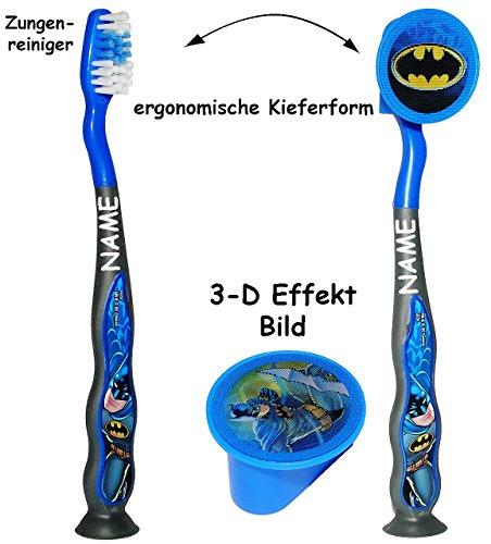 alles-meine.de GmbH Reiseset: ergonomische Zahnbürste incl. Schutzkappe _  Batman  _ incl. Name - mit Saugnapf zum Hinstellen - Kinder & Baby / hochwertige Borsten - Reisezahnb..