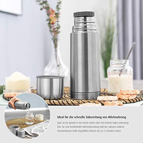 Reer Edelstahl Isolier-Flasche PURE, 350ml – klein, handlich, ideal fürs Baby, mit integriertem Becher, silber, 90308 W