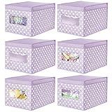 mDesign Juego de 6 Cajas organizadoras de Tela – Caja de almacenaje apilable para Guardar Ropa y Zapatos o para ordenar armarios – Organizador de armarios con Tapa y ventanilla – Violeta
