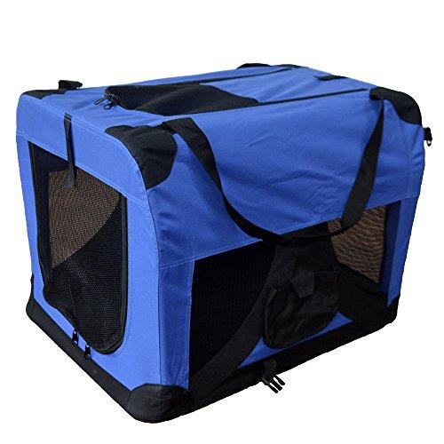 TIGGO Hundetransportbox Hundebox faltbar Transportbox Autotransportbox Faltbox Transportasche 601-D01 royal blau Grösse: XL - 81cm x 58cm x 58cm