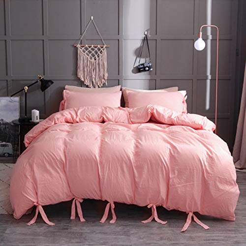 QXbecky Lace-up Washed Cotton Solid Color Soft and Comfortable Bedding Pillowcase Quilt Cover 3-Piece Set