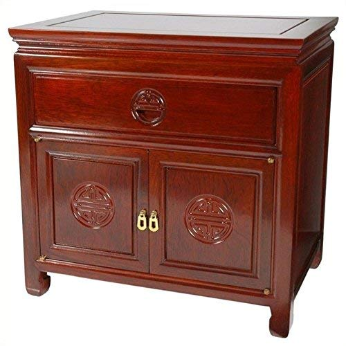 Oriental Furniture Rosewood Bedside Cabinet   Cherry