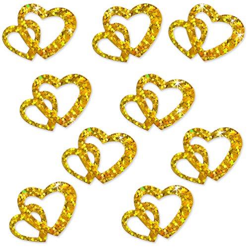 Oblique-Unique® 100 Stk Deko Doppel Herzen - Farbwahl (Gold Glitzereffekt)