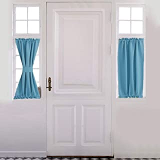 Aquazolax Blackout French Door Curtain Panel - Blackout Door Curtain 25x40 Inches Premium Solid Drapery with Tiebacks - 1 Panel, Turquoise