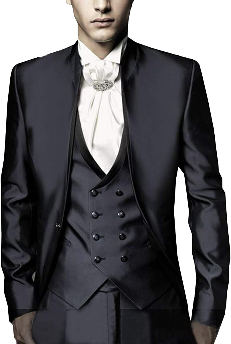 RONGKIM Men's Satin Double Breasted Slim Fit 3 Pieces Blazer Groomsman Suit Prom Tuxedo