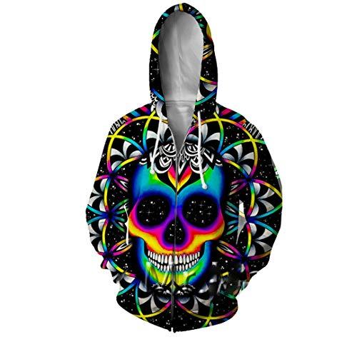 LMSPRINTSJ 3D Skull Rainbow Full Printed Zip Hoodies Men/Women Boy Hip Hop Hood Sweatshirts Tops Clothes Zip Hoodies Asian Size XXL