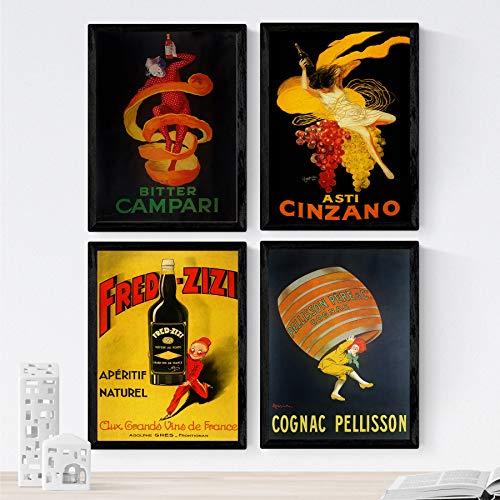 Nacnic poster vintage. Oude posters met advertenties. Vier vintage alcoholposters. Campari, Cinzano, Cognac. A4-formaat