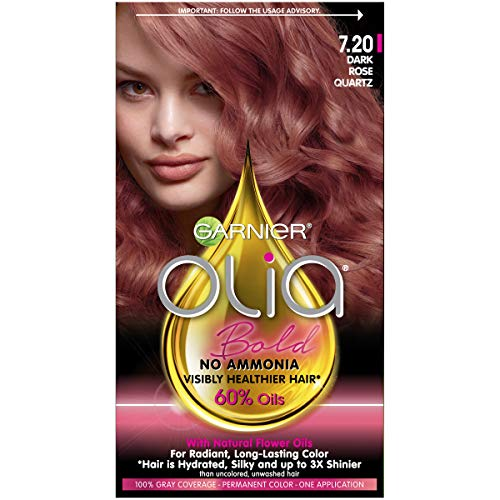 Garnier Olia Bold Ammonia Free Permanent Hair Color (Packaging May Vary), 7.20 Dark Rose Quartz, Rose Hair Dye, 1 Kit, Pack of 1