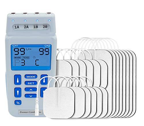 Med-Fit recargable de doble control TENS de 4 canales y estimulador muscular 24 programas clínicamente aprobados y ajuste manual que tratan hasta 4 áreas simultáneamente suministradas con 20 electr
