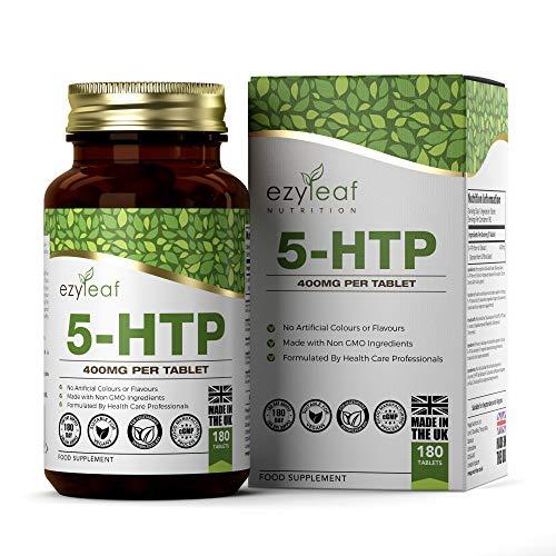 Ezyleaf 5-HTP 400mg High Strength | 180 Tabletten Afkomstig van Griffonia Zaad | Natuurlijke Ondersteuning voor Stressverlichting | GMO-vrij | 6 Maanden Voorraad