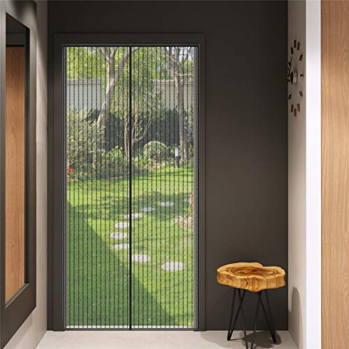 Magnetisches Fliegengitter, Türvorhang, Fliegennetz, Insektenschutz, Klebmontage ohne Bohren, Schwarz (100 x 220 cm Schwarz)