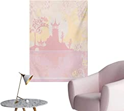Pink Mural Decoration Old Ancient China Landscape Temple with Florals Swirls Flower Details Image PrintPale Pink W32 xL48 Space Poster