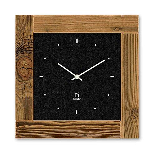 Natuhr - Scheune - Reloj de Pared - Madera Viejo Picea quemada por el Sol - Fieltro - Made in Germany (Negro) …