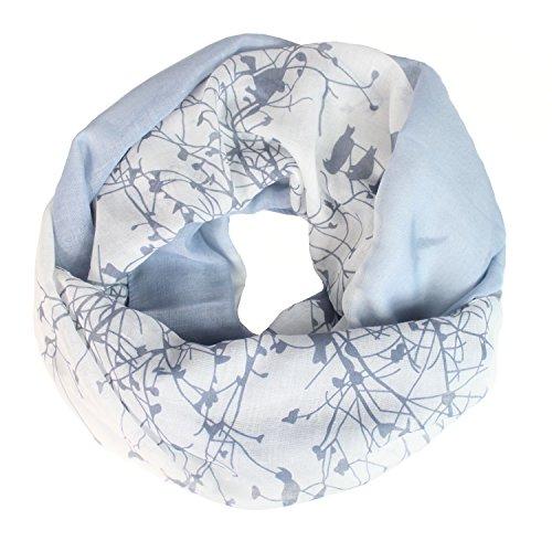 Glamexx24 Glamexx24 Loop Schal Farbeverlauf warme und weiche Schlauchschal mit Vögel Motiv Tuch Damen 01072, Blau, Einheitsgröße