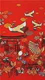 Roter Stoff mit Kranichen Fächern Koi Sushi von Alexander