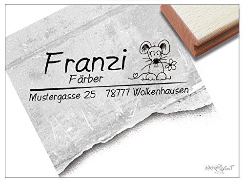 Stempel - Adressstempel MAUS Mausezahn ✿ - Individueller Familienstempel, ideal für Kinder, mit deinem Namen und deiner Adresse - von zAcheR-fineT