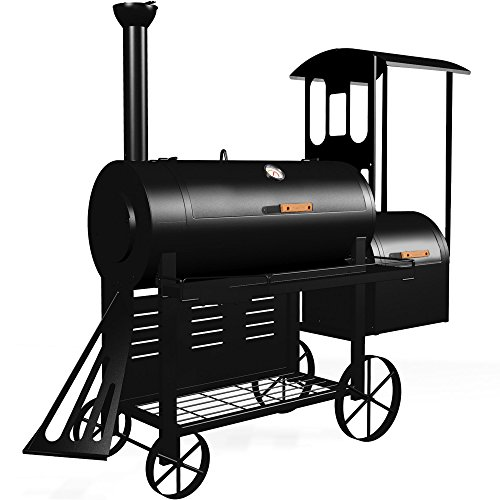 Syntrox Germany smoker S-2 Lok de Luxe Barbecue BBQ Grill Smoker, Charcoal Barbecue, grill trolley