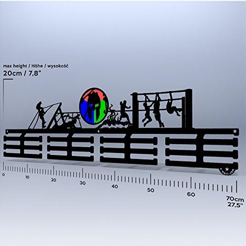 Wall Of Fame OCR Spartan – Acero inoxidable Medalla plana medallas aufhänger Medal Hanger Display regalo 70 cm/SCHWARZ/FG