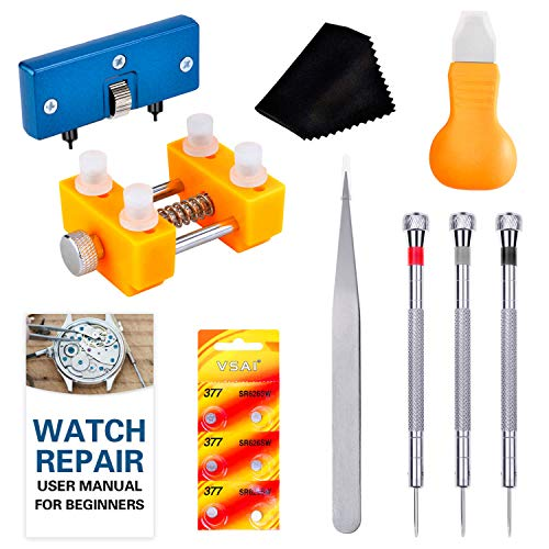Watch Battery Replacement Tool Kit, Cridoz Watch Back Remover Tools with Watch Opener, Watch Holder, Watch Screwdrivers, 377 Watch Batteries and Instruction Manual for Watch Repair and Battery Replace