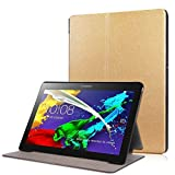 Zrengp for Lenovo Tab2 10.1 A10-30F A10-30N A10-30L TB-X103F Smart Cover, Ultra Slim Folio Stand Leather Case for Lenovo Tab 2 10 X30F X30M X30N 10.1 inch Tablet (Gold)