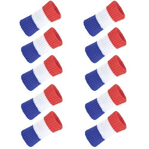 TopTie 10 fundas para dedos de algodón, para aliviar el dolor, rojo, blanco y azul