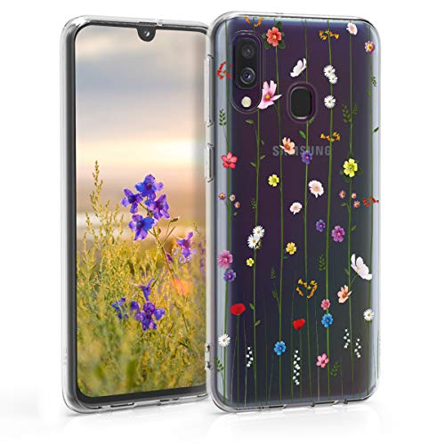 kwmobile Carcasa Compatible con Samsung Galaxy A40 - Funda de TPU y Flores Colores en Multicolor/Transparente