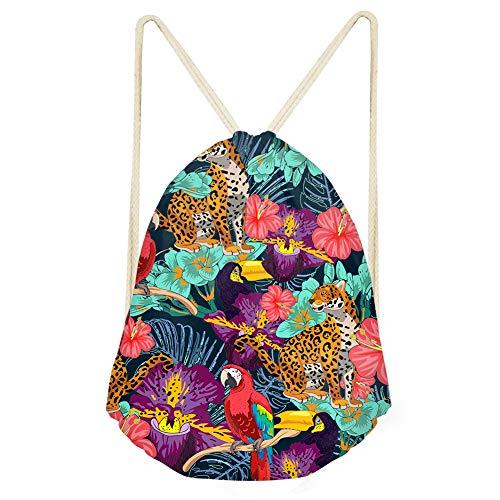 Tropical Hawaii Holiday Drawstring Backpack Kids Boys Girls String Gym Bag for Beach Travel