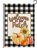 Home Decorative Welcome to Our Patch Pumpkin Sunflower Garden Flag,Summer Autumn Black White Buffalo Check Plaid Rustic Farmhouse Burlap Outdoor Decoration Seasonal Flag 12.5 x 18 Inch