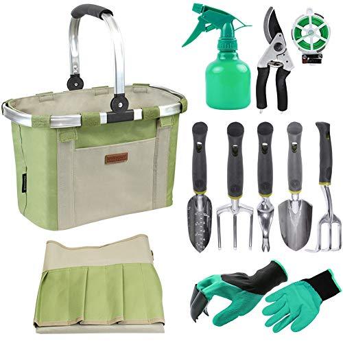 Bolsa sólida para herramientas de jardín con 11 herramientas de mano, el mejor juego de regalo de jardinería con kit de herramientas de jardín de verduras, almohadilla de rodillo