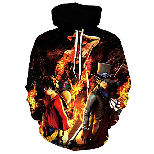 Lontse Anime One Piece 3D Printed Hoodie Luffy Ace Pullover Sweatshirt Hoodies for Men (Multicolored2,L)
