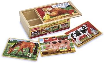 Melissa & Doug 13793 - 4 rompecabezas de madera - animales de granja , color/modelo surtido