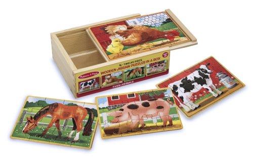 Melissa & Doug Rompecabezas de la granja en una caja (cuatro rompecabezas de madera, hermosas ilustraciones, robusta caja de almacenamiento de madera, 48 piezas, 20.32 cm alto x 15-24 cm ancho x 6.35 cm largo)