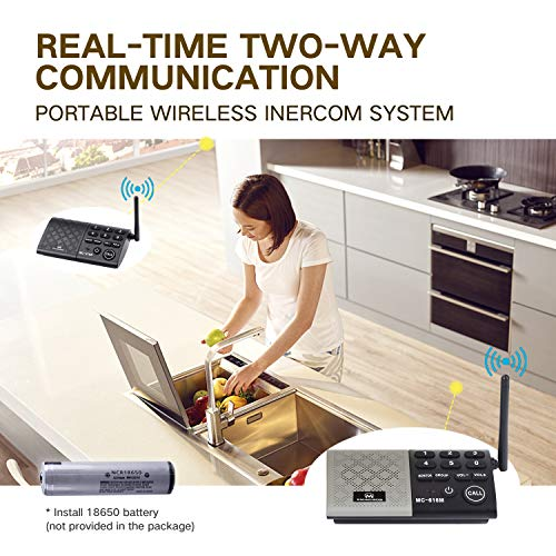 eMACROS Portable Wireless Intercom System 1000 feet Hands Free Full Duplex Intercom for Home and Office,Room to Room Intercom, Home Communication System