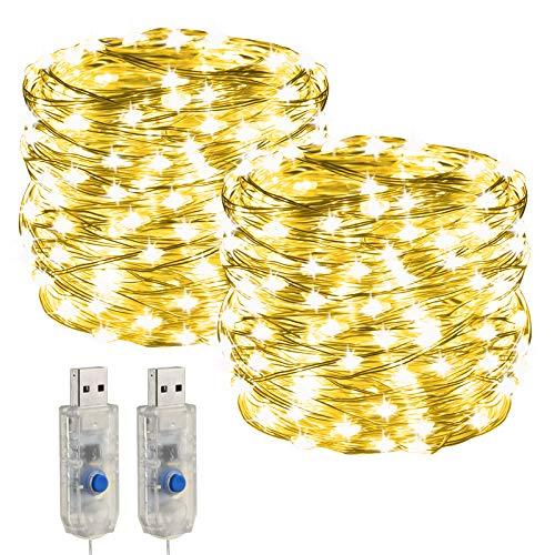 Lichterkette USB LED,[2 Stück]10m 200leds 32.8ft 8 Modi Nachtlicht Lichtervorhang für Weihnachten,Party,Hochzeit Deko,balkon möbel,Schlafzimmer,Innenbeleuchtung,DIY Deko (Warmweiß)