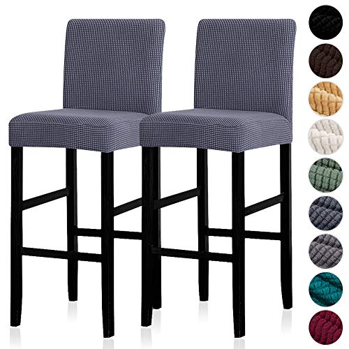 Lellen Reusable Pub Counter Stool Chair Covers Slipcover Stretch Removable Washable Dining Room Chair Covers Set of 2(Grey)