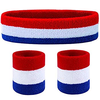 Favofit Headband/Wristbands for Women Men Girls Boys for Gym Workout & Yoga 3 Piece Set Super Comfy Sports Sweatbands for Football Baseball Basketball Soccer Tennis Sweat Out of Your Eyes & Wrists