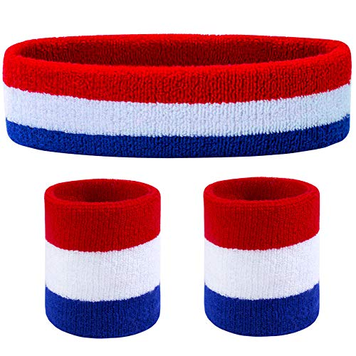 80s Red, White and Blue Tennis Player Headband and Wristbands Set