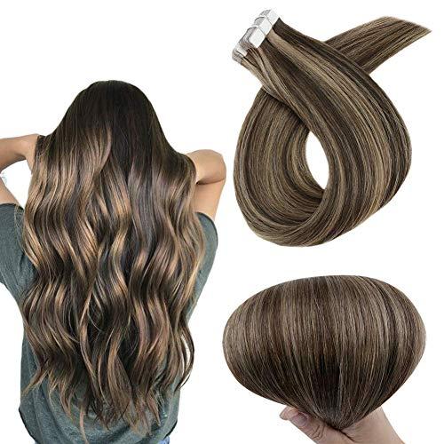 RUNATURE Tape Hair Extensions Echthaar Farbe 2 Dunkelstes Braun Mit Farbe 8A Aschbraun Markieren 18 Zoll 50g 20Pcs Echtes Haarverlängerung