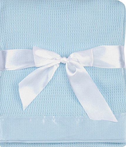 Thermal Waffle Weave Baby Blanket with Satin Nylon Trim (blue)