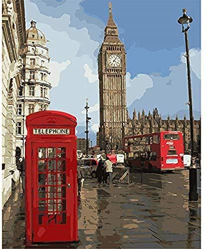 Paint by Numbers Impression London Cabina telefónica roja con pinceles Decoración para adultos Niños Principiante Fantasía 40X50CM-No Frame